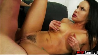 Sexy brunette Katie St Ives loves her brother white huge cock