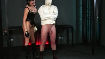 BDSM XXX Slave boy in straight jacket and anal hook swings brick from his balls to please his Mistre  HD