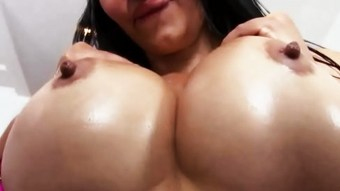 Horny babe with big tits