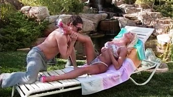 Blonde milf Zora Banks gets her asshole fucked in the garden