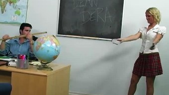 Kinky blonde Ahryan Astyn gets her slit fucked in the classroom