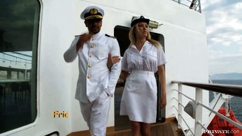 Busty blond stewardess fucks her captain