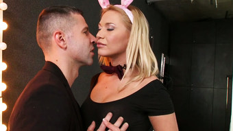 Lovely bootylicious blonde babe with bunny ears sucks delicious dick