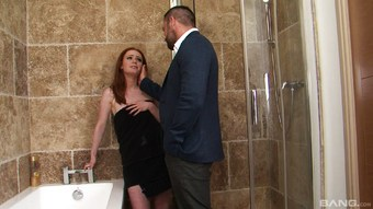 Heavenly redhead with the pale skin having sex in the bathroom