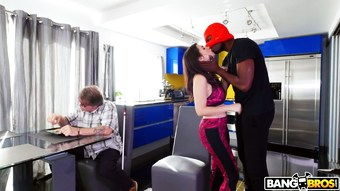 Black robber in mask fucks Valentina Nappi in the presence of her blind old husband