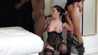 Threesome Interracial for a Busty Milf.