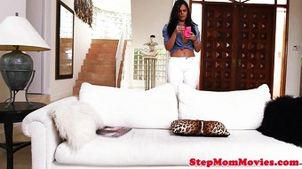 Curvy latina stepmom shares dick with teen