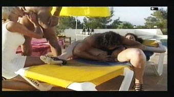 Ibiza poolside orgy with Helen Duval