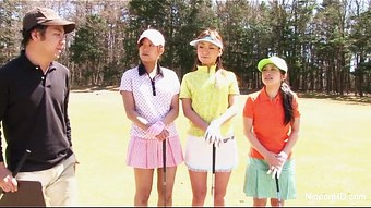 Asian teen girls plays golf nude